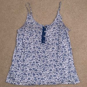 Old Navy floral, blue and white tank top